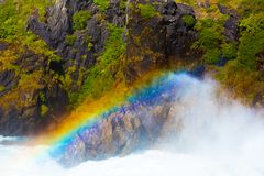 Rainbow over a waterfall, Torres del Paine National Park, Patagonia, Chile, South America.  royalty free stock photo