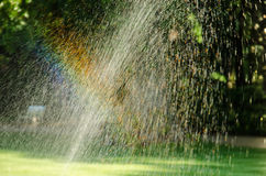 Rainbow over watering lawn Royalty Free Stock Photography