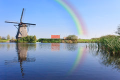 Rainbow over the Windmill at Kinderdijk Royalty Free Stock Photos
