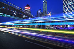 Rainbow overpass highway night scene Stock Images