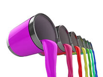 Rainbow paint cans Royalty Free Stock Images