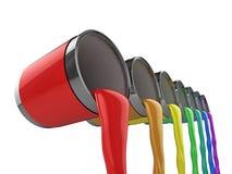 Rainbow paint cans Stock Photos
