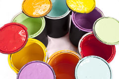 Rainbow Paint Color Circle Cropped Stock Photo