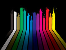Rainbow paint dribble black Stock Images