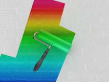 Rainbow paint roller Royalty Free Stock Photos