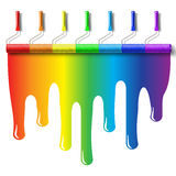 Rainbow paint roller brush royalty free illustration