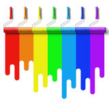 Rainbow paint roller brush Royalty Free Stock Image