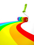 Rainbow paint roller isolated on white background Royalty Free Stock Image