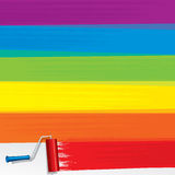 Rainbow Paint Roller Painting a White Wall. Vector Royalty Free Stock Images