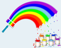 Rainbow Paint Roller With Pots Of Paint. Royalty Free Stock Images