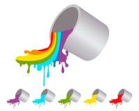 Rainbow paint splashes Stock Images