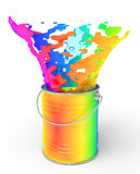 Rainbow paint splashing out of can Stock Image