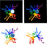 Rainbow paint splatters. Around a metal ball on black and white Stock Image