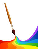 Rainbow paintbrush Stock Image