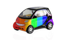 Rainbow painted car. Isolated on white background royalty free stock image