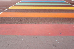 Rainbow painted crossroads in Utrecht, Netherlands. Horizontal composition Royalty Free Stock Photo