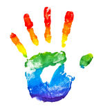 Rainbow painted hand shape Royalty Free Stock Image