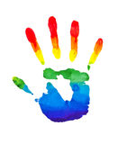 Rainbow painted hands Stock Image