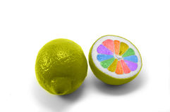Rainbow painted lemon Royalty Free Stock Image