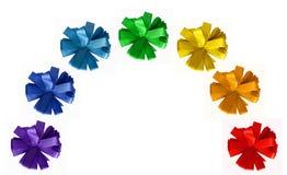 Rainbow painted ribbon cornflower bows Stock Image