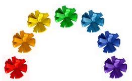 Rainbow painted ribbon cornflower bows. Isolated on white background Stock Image