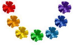 Rainbow painted ribbon cornflower bows Royalty Free Stock Photos