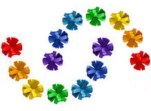 Rainbow painted ribbon cornflower bows Royalty Free Stock Photo