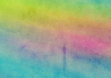 Rainbow Painted Watercolor Wash Canvas Background. A digitally painted watercolour background texture with blended shades and hues stock illustration