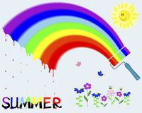 Rainbow and painted the word Summer. Royalty Free Stock Photos