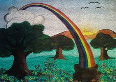 Rainbow painting on canvas created background design. As abstract wallpaper royalty free stock image