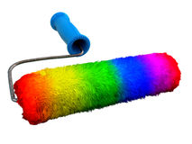 Rainbow paintroller Royalty Free Stock Images