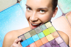 Rainbow palette of shadows Stock Photo