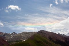 Rainbow in Pamir mountains Stock Images