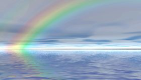 Rainbow. Panoramic landscape. Stock Image