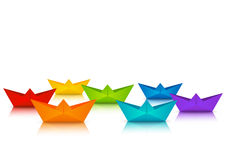 Rainbow paper boats for Your design Stock Image