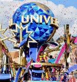 Rainbow paper firework during the show. Parade of Universal studio ,osaka,japan Stock Photo