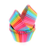 Rainbow paper forms for muffins and cupcakes isolated on white Stock Image