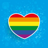 Rainbow Paper Heart Blue Background Royalty Free Stock Photography