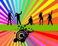 Rainbow party. Vector illustration of dancing people on a rainbow background Stock Photo