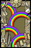 Rainbow party background. A whimsical illustration of several rainbows & musical instruments featuring Chicago buildings Royalty Free Stock Photography