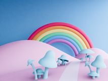 Rainbow with pastel background , 3d render