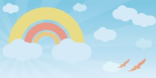 Rainbow in pastel shades. Bright sky with a rainbow, clouds and a couple of birds in it Stock Photo