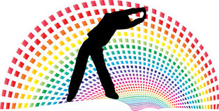 Rainbow path above women in exercise Royalty Free Stock Photos