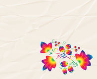 Rainbow  pattern in the style  Khokhloma on the  crumpled paper.  Stock Image