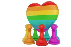 Rainbow pawn and colorful heart over white background 3D illustration.  stock illustration
