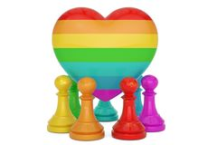 Rainbow pawn and colorful heart over white background 3D illustration.  vector illustration
