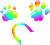 Rainbow paws Stock Image