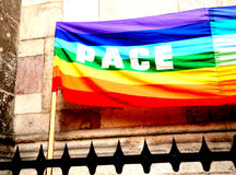Rainbow peace flag during a demonstration of Italian pacifists Royalty Free Stock Photos