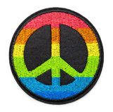 Rainbow Peace Patch. Round Rainbow Peace Patch Isolated on White royalty free stock image