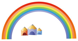 Rainbow  and pencil Stock Photography